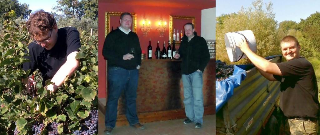 """Das Team von viniegusto.de, Manuel, Patrick, Thomas & Peter bei der """"Arbeit""""."""